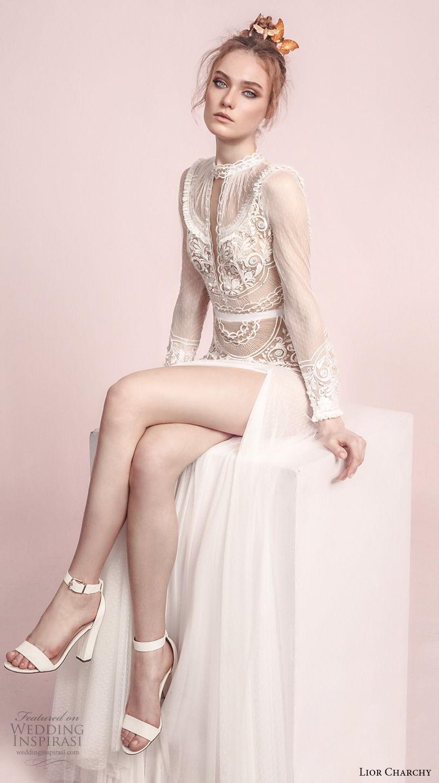 lior charchy spring 2017 bridal long sleeves high neck keyhole heavily embellished tulle skirt side slit bohemian a  line wedding dress sweep train (11) zv