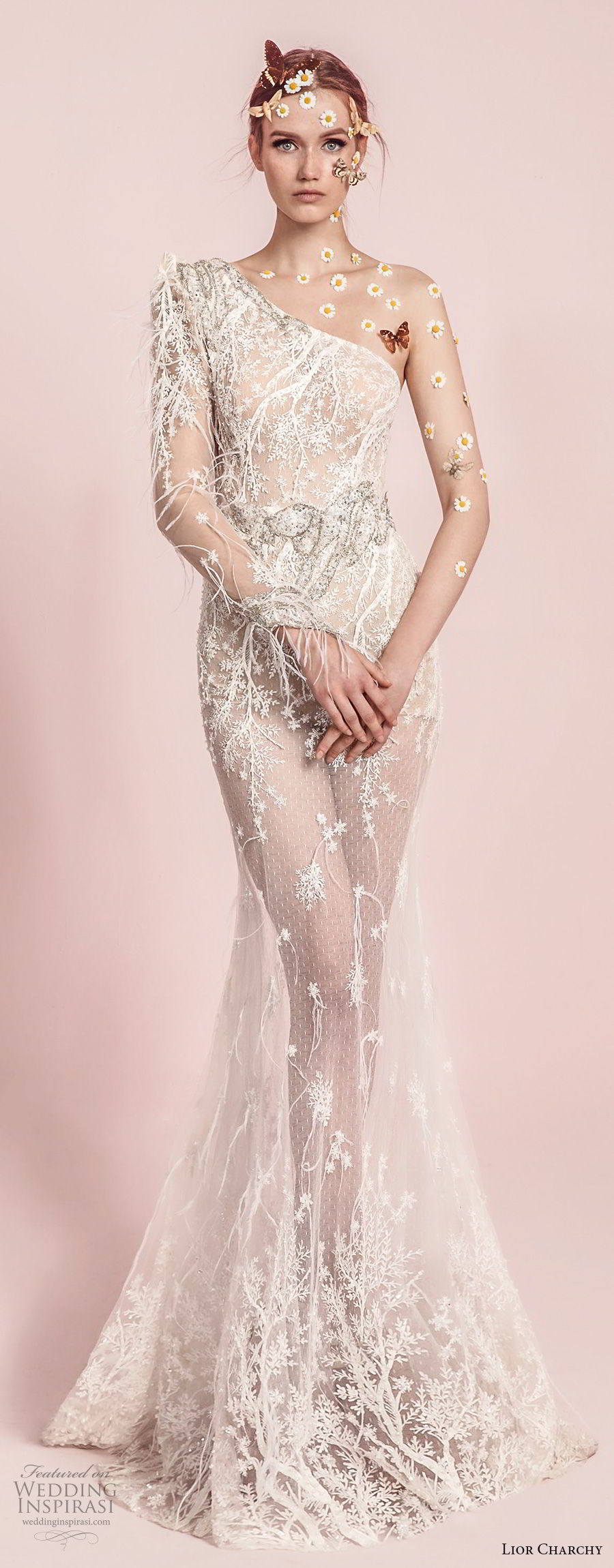lior charchy spring 2017 bridal long sleeves one shoulder full embellishment elegant glamorous fit and flare mermaid wedding dress sweep train (8) mv