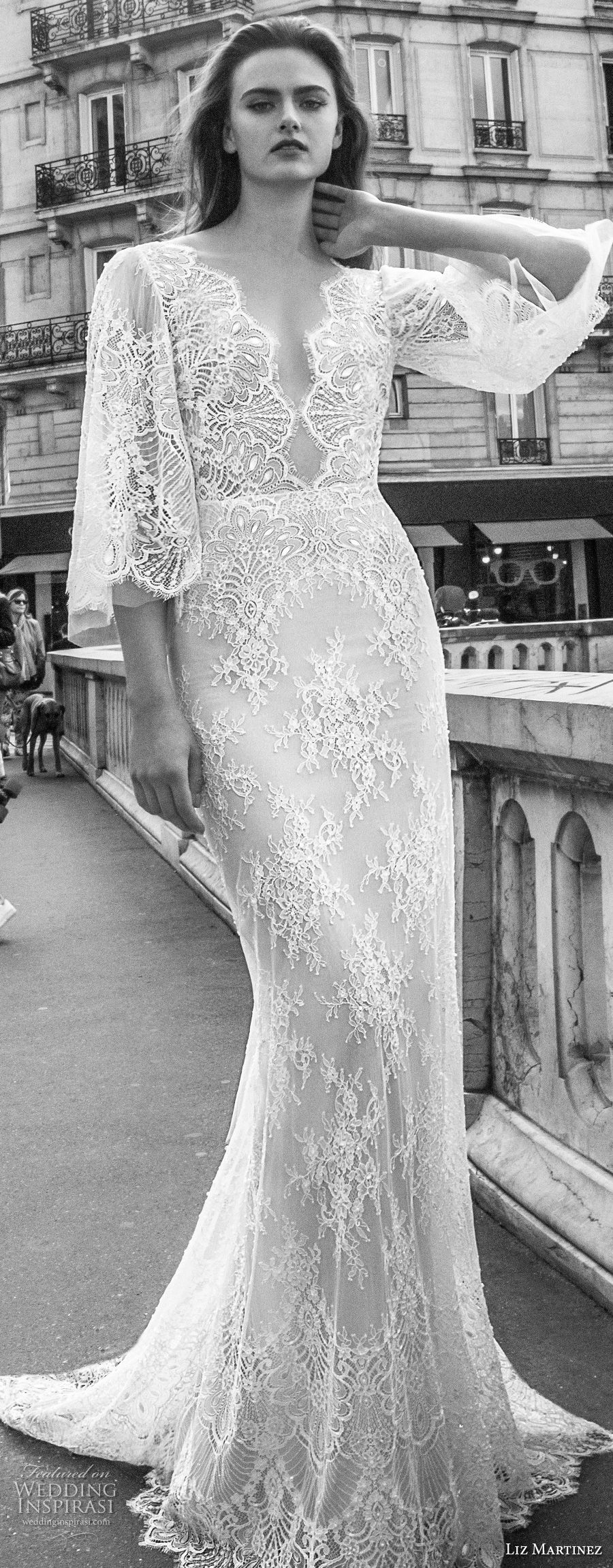 liz martinez 2018 bridal half bell sleeves deep v neck full embellishment elegant sheath wedding dress open back sweep train (4) lv