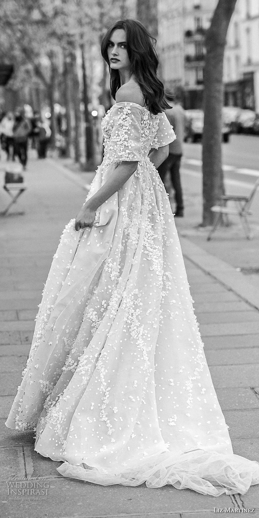 liz martinez 2018 bridal off the shoulder straight across neckline full embellishment romantic soft a line wedding dress sweep train (7) bv