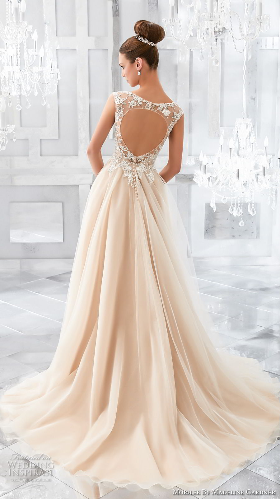 morilee fall 2017 blu bridal cap sleeves illusion bateau sweetheart neckline heavily embellished bodice blush color romantic a  line wedding dress keyhole back chapel train (67) bv
