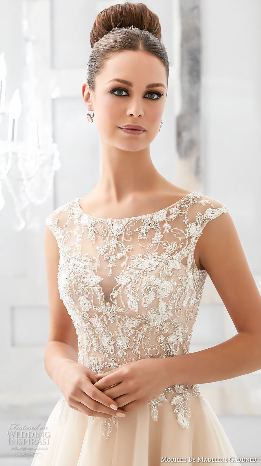 morilee fall 2017 blu bridal cap sleeves illusion bateau sweetheart neckline heavily embellished bodice blush color romantic a  line wedding dress keyhole back chapel train (67) zv