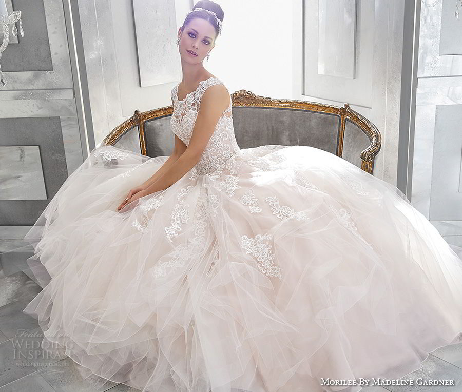 morilee fall 2017 blu bridal cap sleeves illusion bateau sweetheart neckline heavily embellished bodice princess romantic pink a  line wedding dress shear lace back chapel train (73) mv