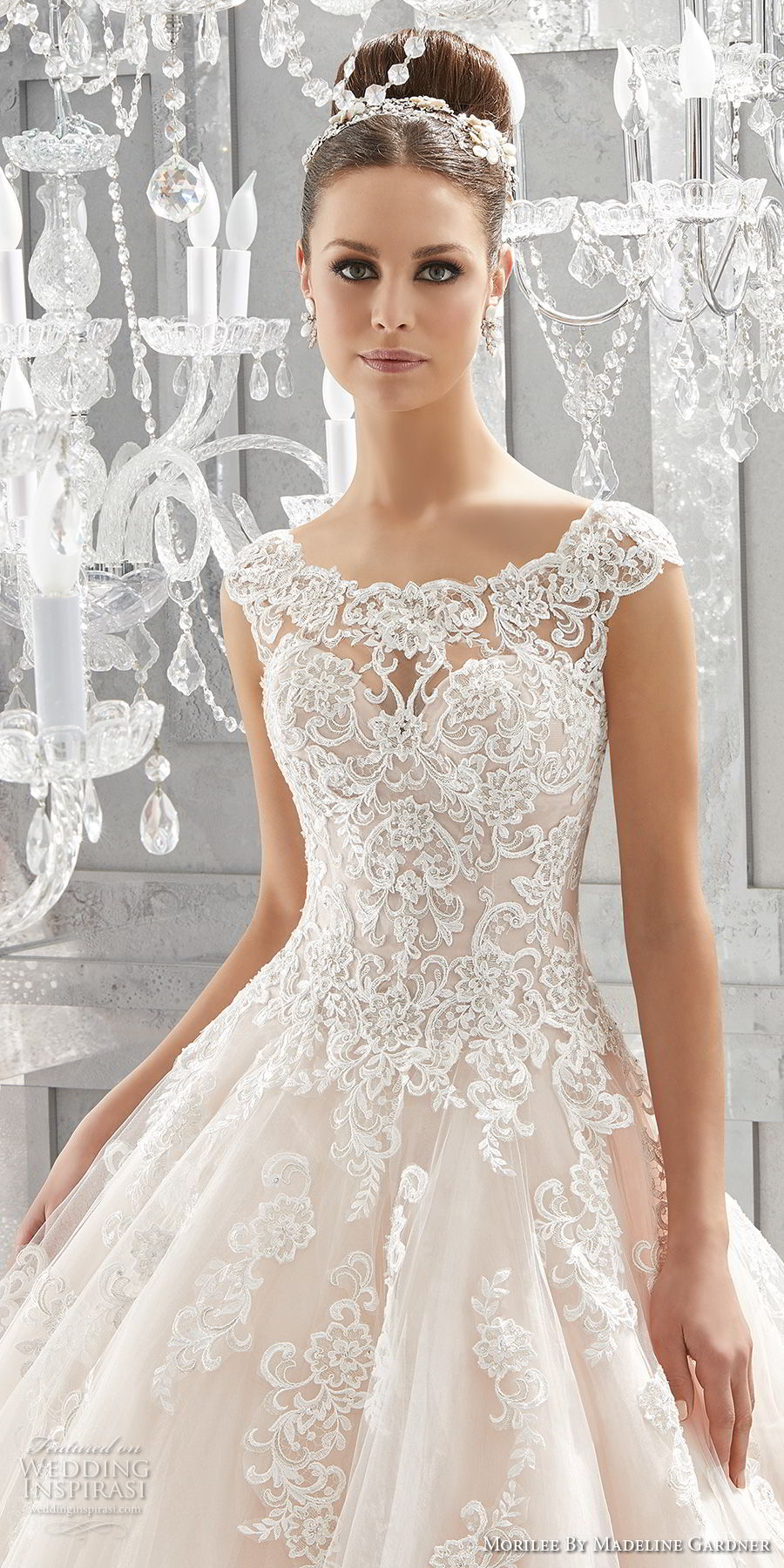 morilee fall 2017 blu bridal cap sleeves illusion bateau sweetheart neckline heavily embellished bodice princess romantic pink a  line wedding dress shear lace back chapel train (73) zv