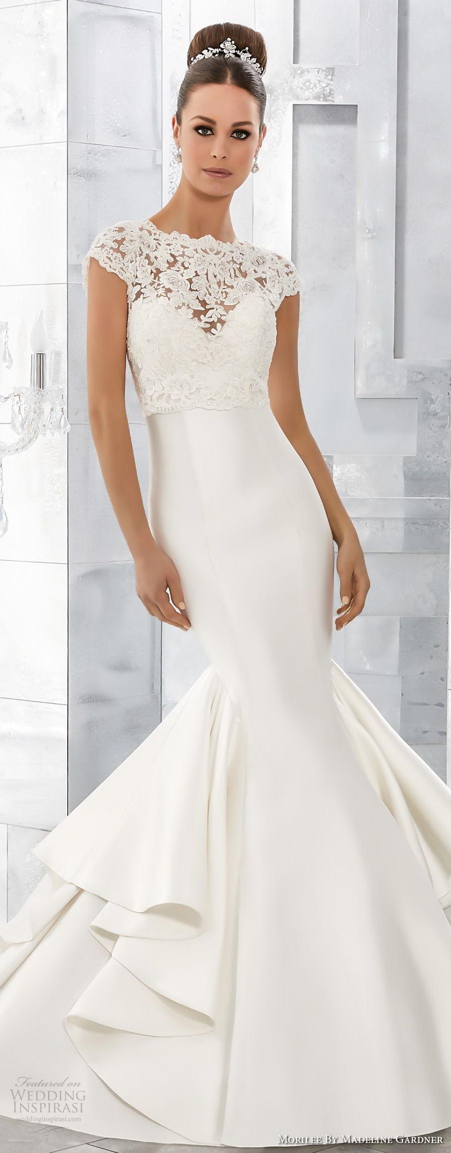 morilee fall 2017 blu bridal cap sleeves illusion jewel  sweetheart heavily embellished bodice  elegant mermaid wedding dress chapel train (63) mv