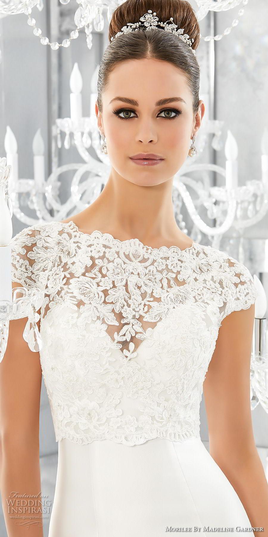 morilee fall 2017 blu bridal cap sleeves illusion jewel  sweetheart heavily embellished bodice  elegant mermaid wedding dress chapel train (63) zv