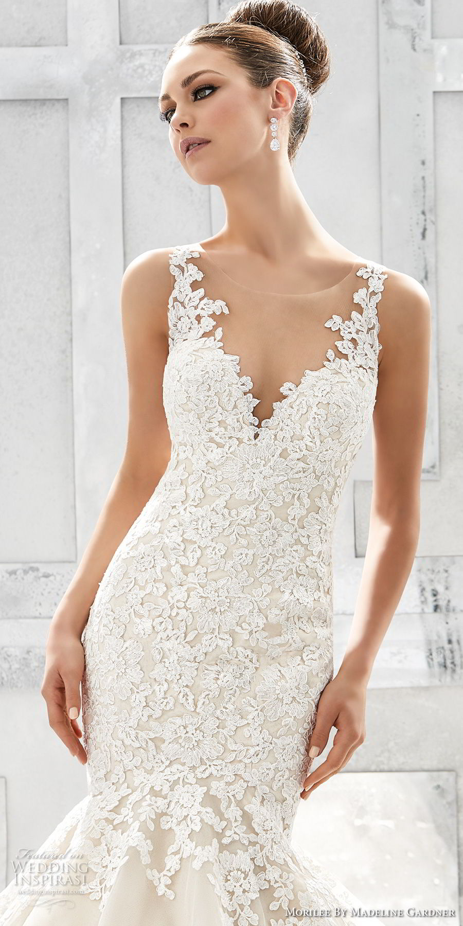 morilee fall 2017 blu bridal sleeveless embroidered strap sweetheart neckline heavily embellished bodice elegant romantic blush color mermaid weedding dress keyhole back chapel train (71) zv