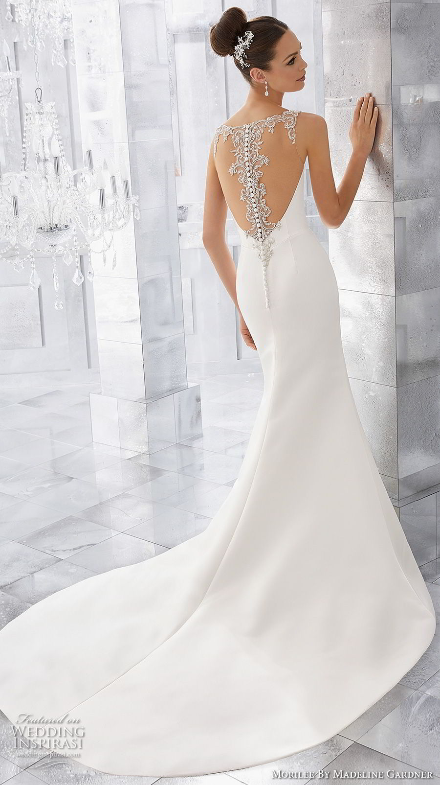 morilee fall 2017 blu bridal sleeveless embroidered strap sweetheart neckline simple clean elegant fit and flare wedding dress sheer lace back short train (69) bv