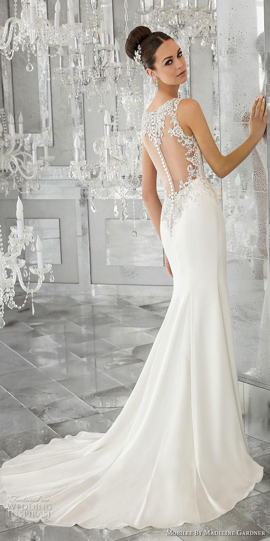 morilee fall 2017 blu bridal sleeveless strap v neck heavily embellished bodice elegant sheath wedding dress button lace back short train (64) bv