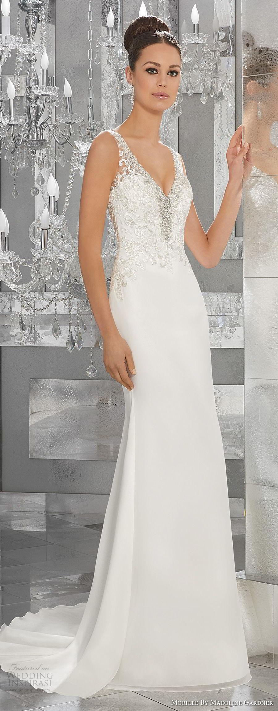 morilee fall 2017 blu bridal sleeveless strap v neck heavily embellished bodice elegant sheath wedding dress button lace back short train (64) mv