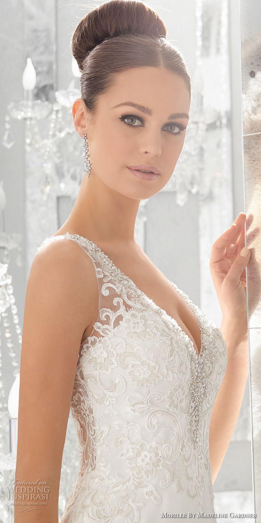 morilee fall 2017 blu bridal sleeveless strap v neck heavily embellished bodice elegant sheath wedding dress button lace back short train (64) zsdv
