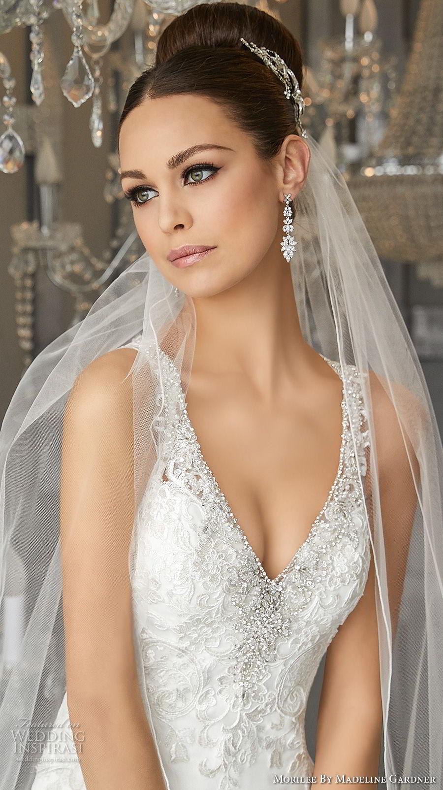 morilee fall 2017 blu bridal sleeveless strap v neck heavily embellished bodice elegant sheath wedding dress button lace back short train (64) zv