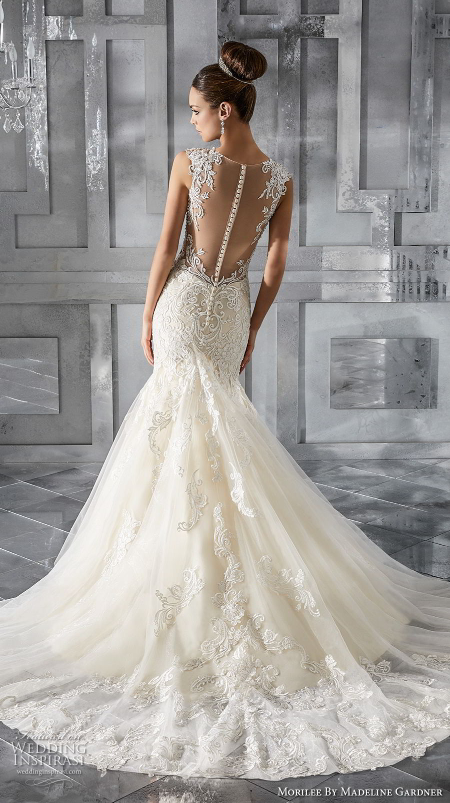 morilee fall 2017 blu bridal sleeveless thick lace strap v neck heavily embellished bodice elegant mermaid wedding dress sheer button back chapel train (68) bv