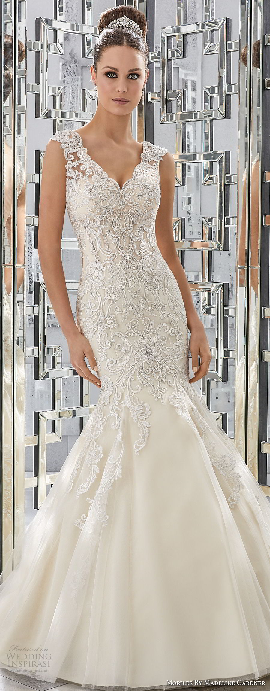 morilee fall 2017 blu bridal sleeveless thick lace strap v neck heavily embellished bodice elegant mermaid wedding dress sheer button back chapel train (68) mv