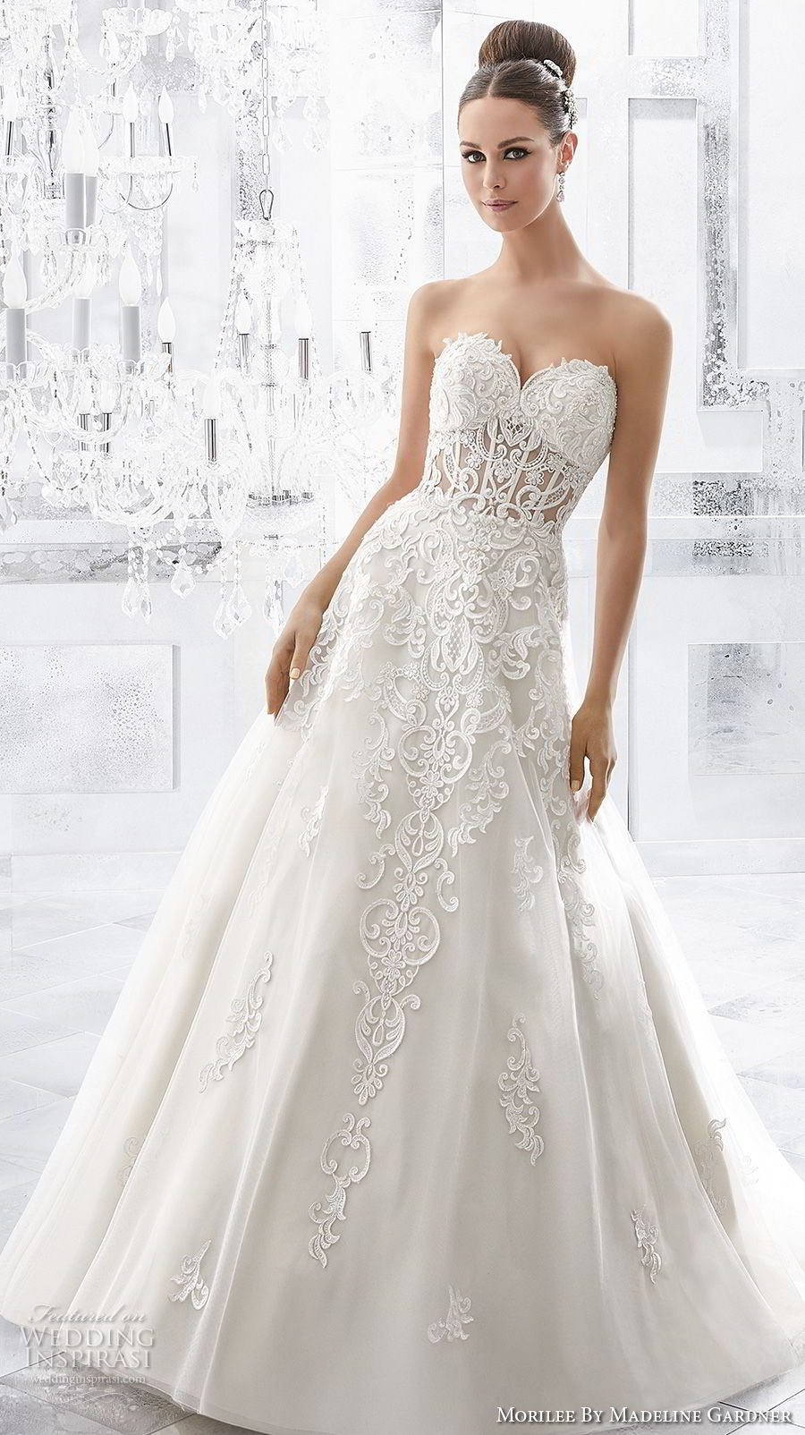 morilee fall 2017 blu bridal strapless sweetheart neckline heavily embellished bodice bustier princess a  line wedding dress royal train (61) mv