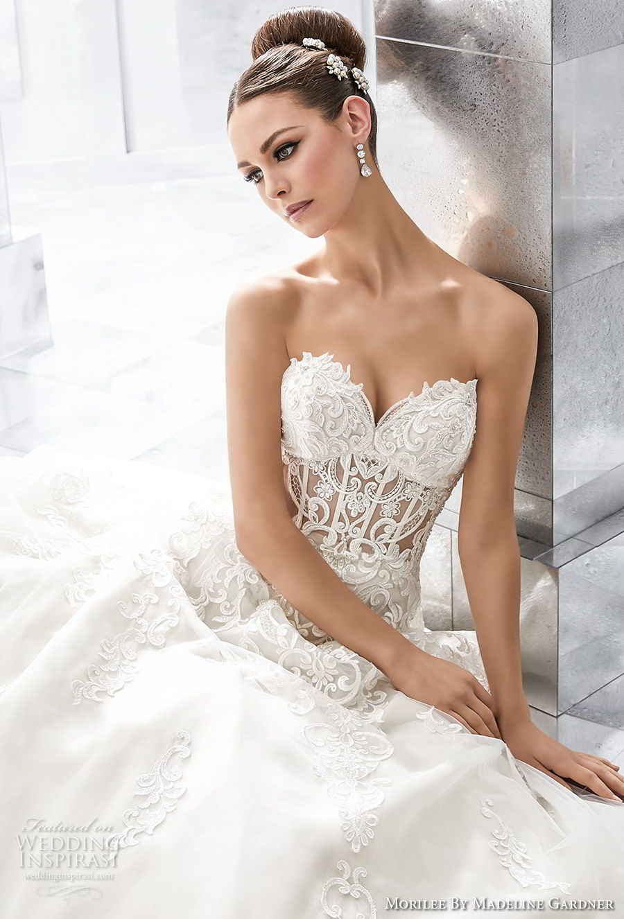 morilee fall 2017 blu bridal strapless sweetheart neckline heavily embellished bodice bustier princess a  line wedding dress royal train (61) zv