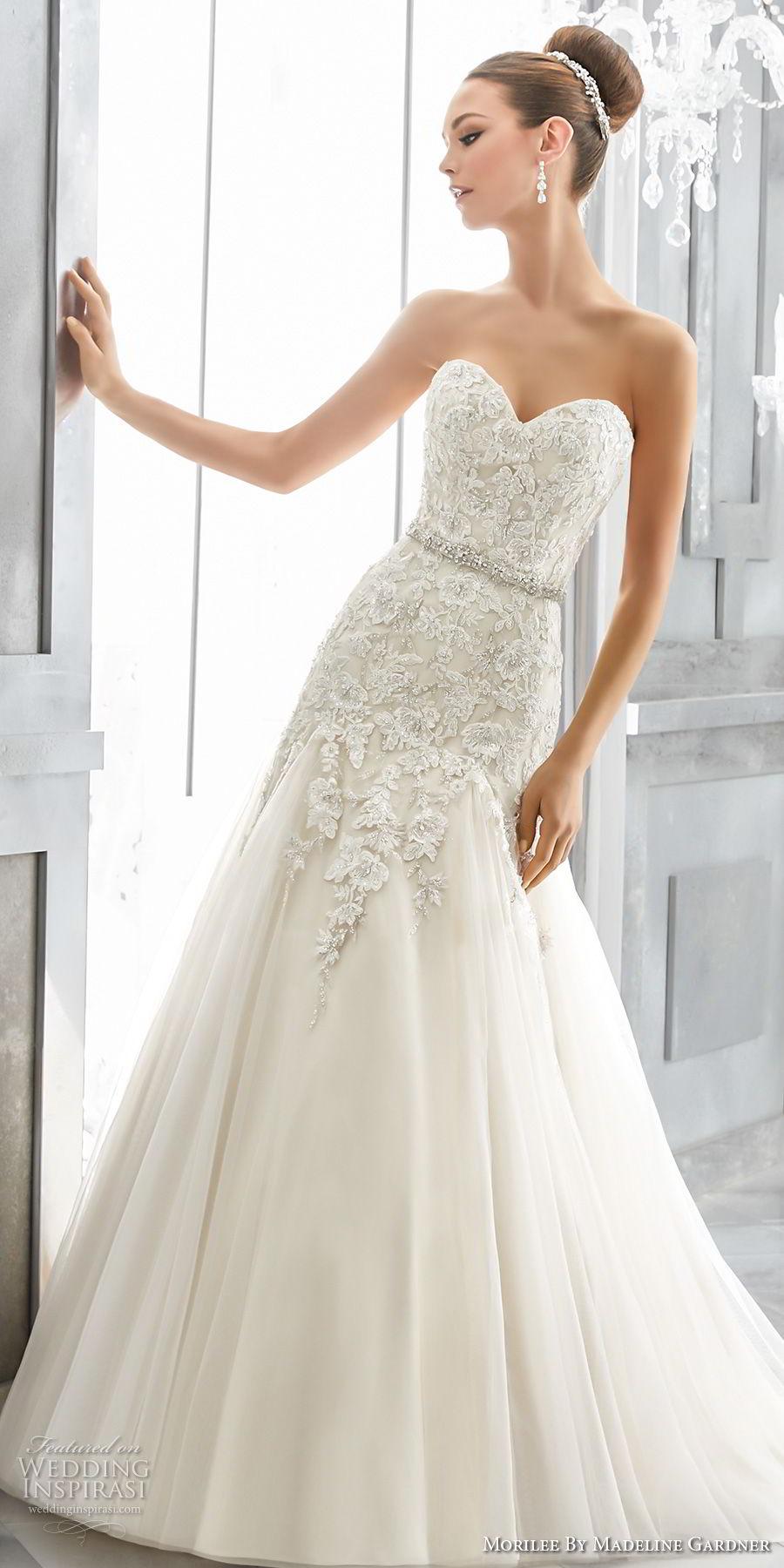 morilee fall 2017 blu bridal strapless sweetheart neckline heavily embellished bodice elegant romantic a  line wedding dress chapel train (2) mv