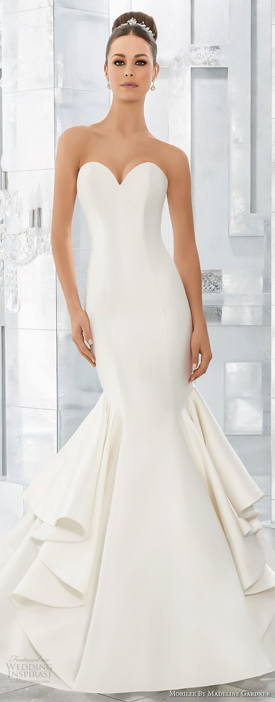 morilee fall 2017 blu bridal strapless sweetheart neckline simple clean elegant mermaid wedding dress chapel train (63) mv