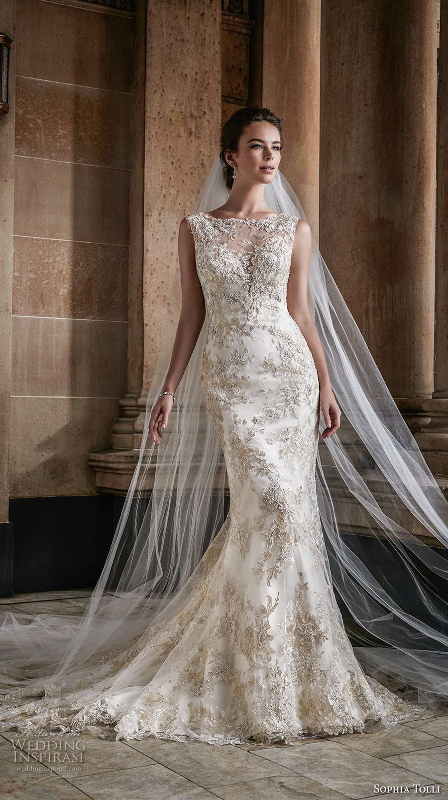 sophia tolli fall 2017 bridal sleeveless illusion bateau sweetheart neckline full embellishment gold embroidery elegant fit and flare mermaid wedding dress open back chapel train (1) mv