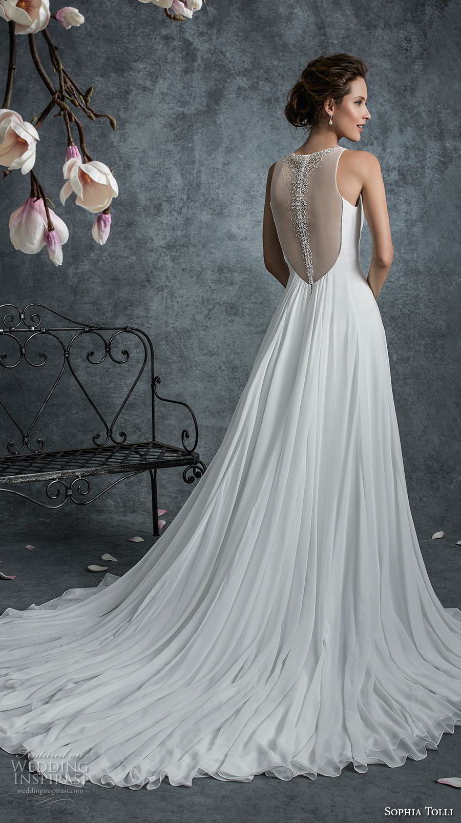 sophia tolli fall 2017 bridal sleeveless illusion jewel deep v neckline simple grecian romantic a line wedding dress sheer back chapel train (17) bv