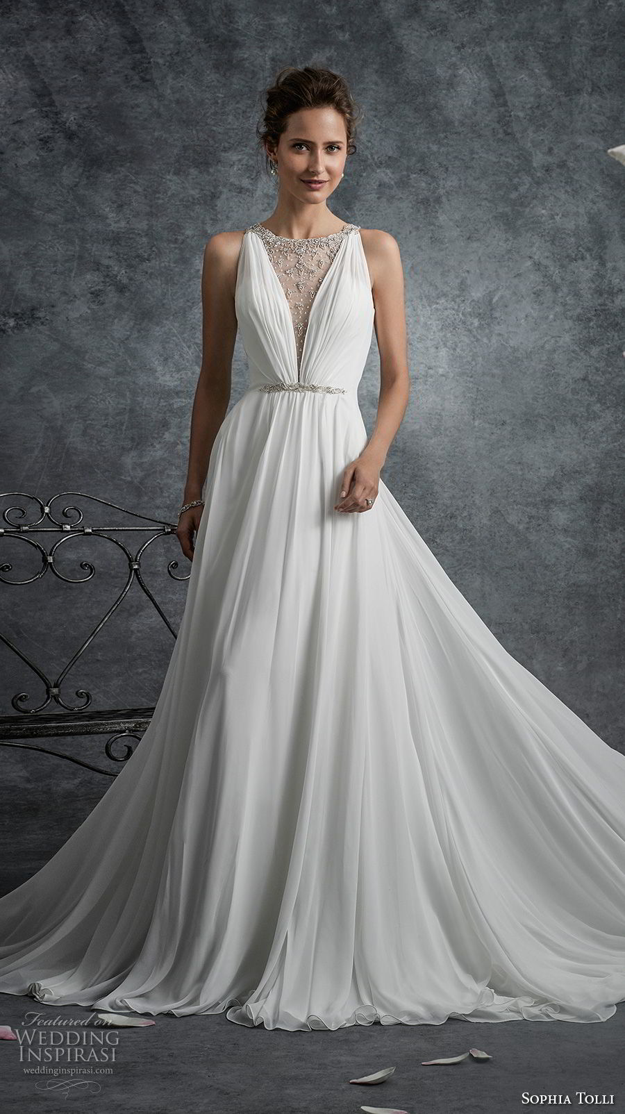 sophia tolli fall 2017 bridal sleeveless illusion jewel deep v neckline simple grecian romantic a line wedding dress sheer back chapel train (17) mv