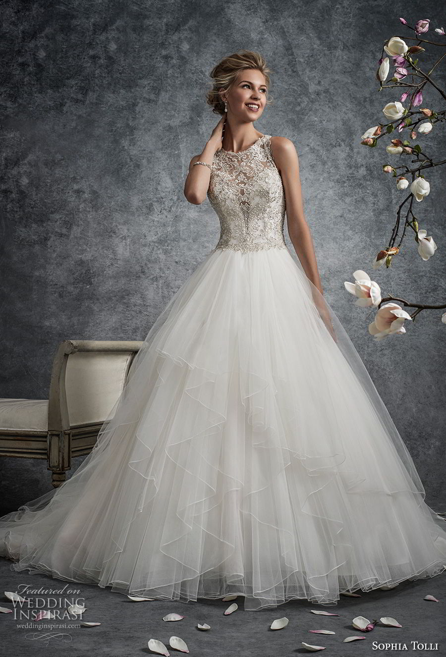 sophia tolli fall 2017 bridal sleeveless illusion jewel sweetheart neckline heavily embellished bodice tulle skirt romantic a line wedding dress covered embellished back chapel train (8) mv