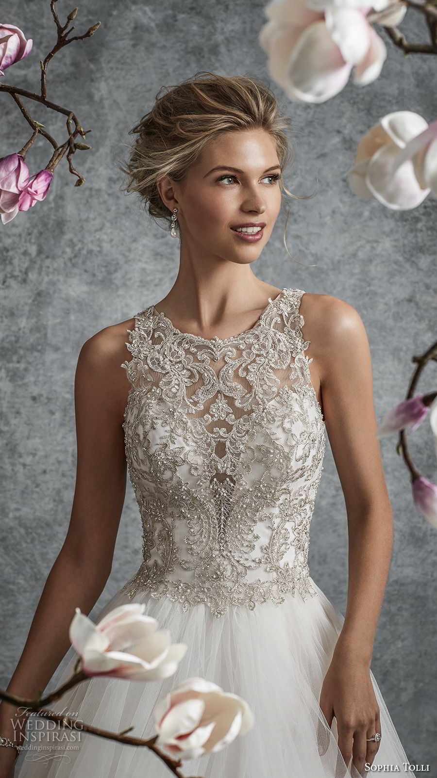 sophia tolli fall 2017 bridal sleeveless illusion jewel sweetheart neckline heavily embellished bodice tulle skirt romantic a line wedding dress covered embellished back chapel train (8) zv