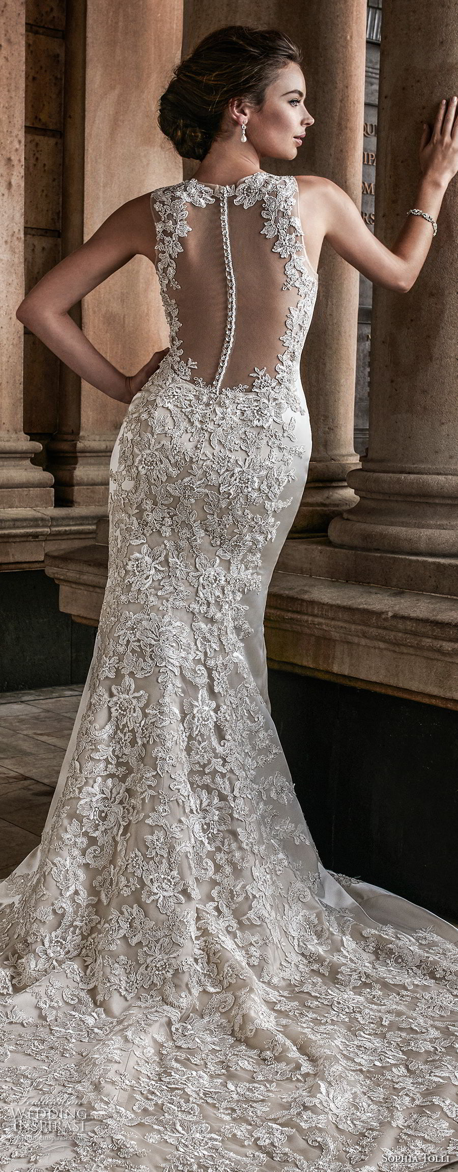 sophia tolli fall 2017 bridal sleeveless jewel neck full embellishment elegant trumpet mermaid wedding dress keyhole button back chapel train (4) blv