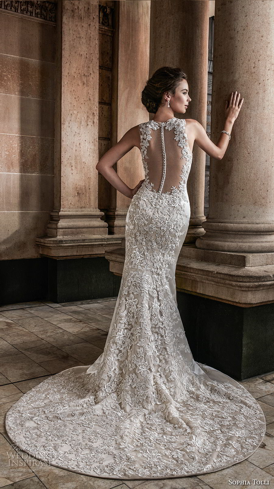 sophia tolli fall 2017 bridal sleeveless jewel neck full embellishment elegant trumpet mermaid wedding dress keyhole button back chapel train (4) bv