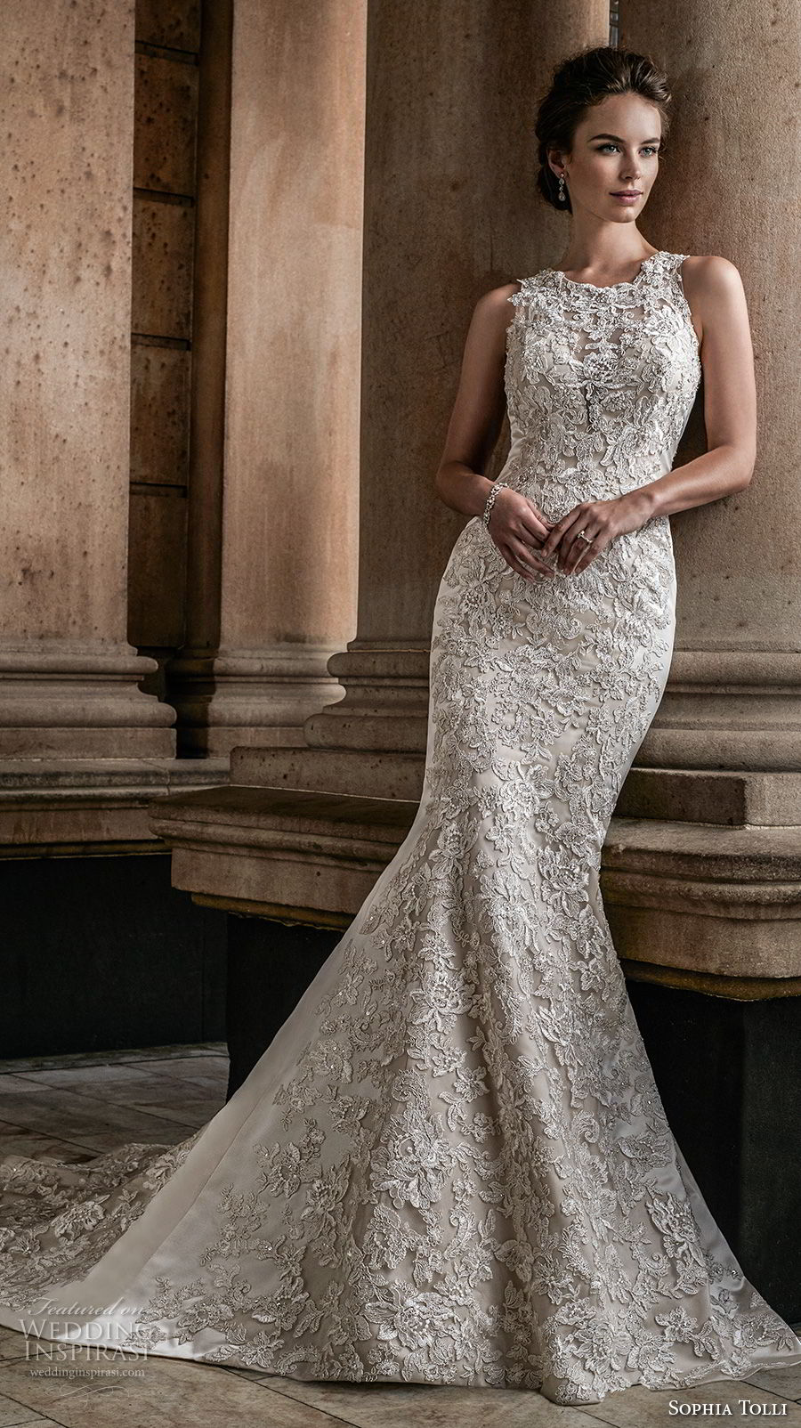 sophia tolli fall 2017 bridal sleeveless jewel neck full embellishment elegant trumpet mermaid wedding dress keyhole button back chapel train (4) mv