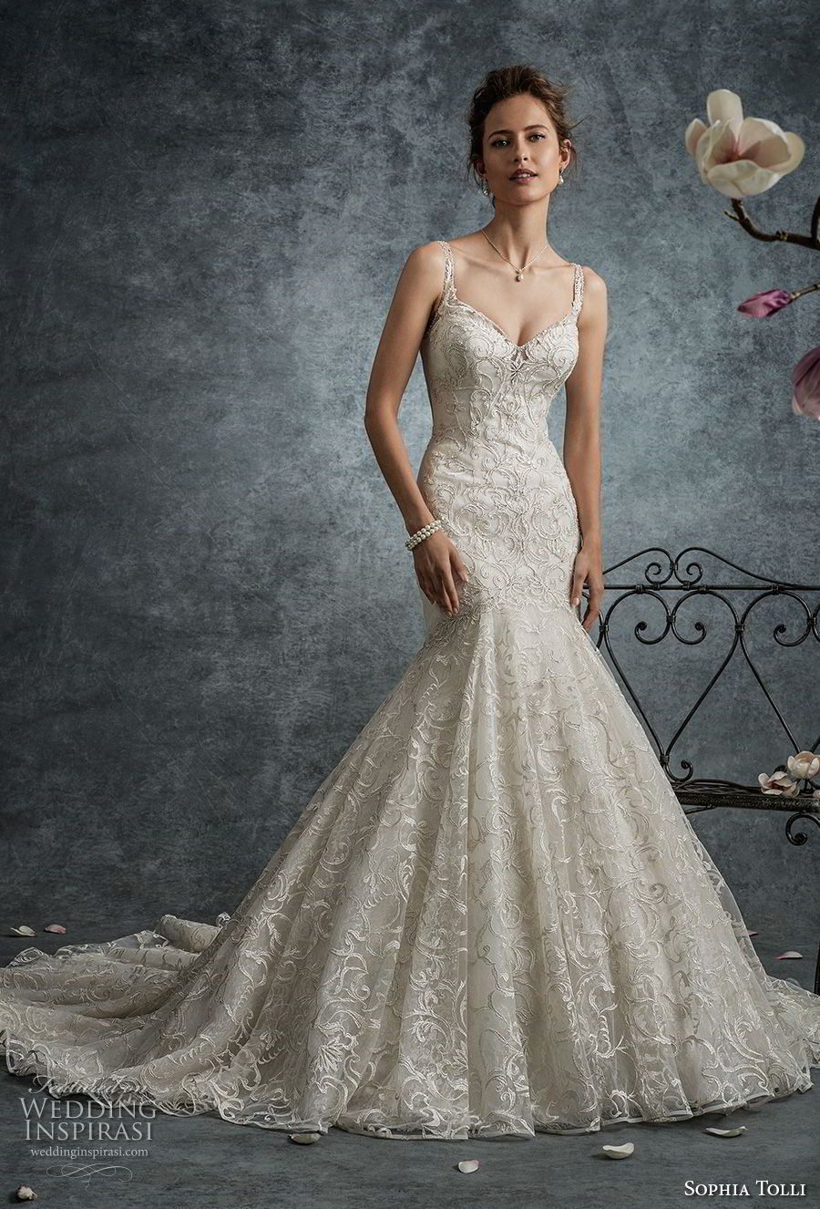 sophia tolli fall 2017 bridal sleeveless strap sweetheart neckline full embellishment elegant trumpet mermaid wedding dress lace back long train (7) mv