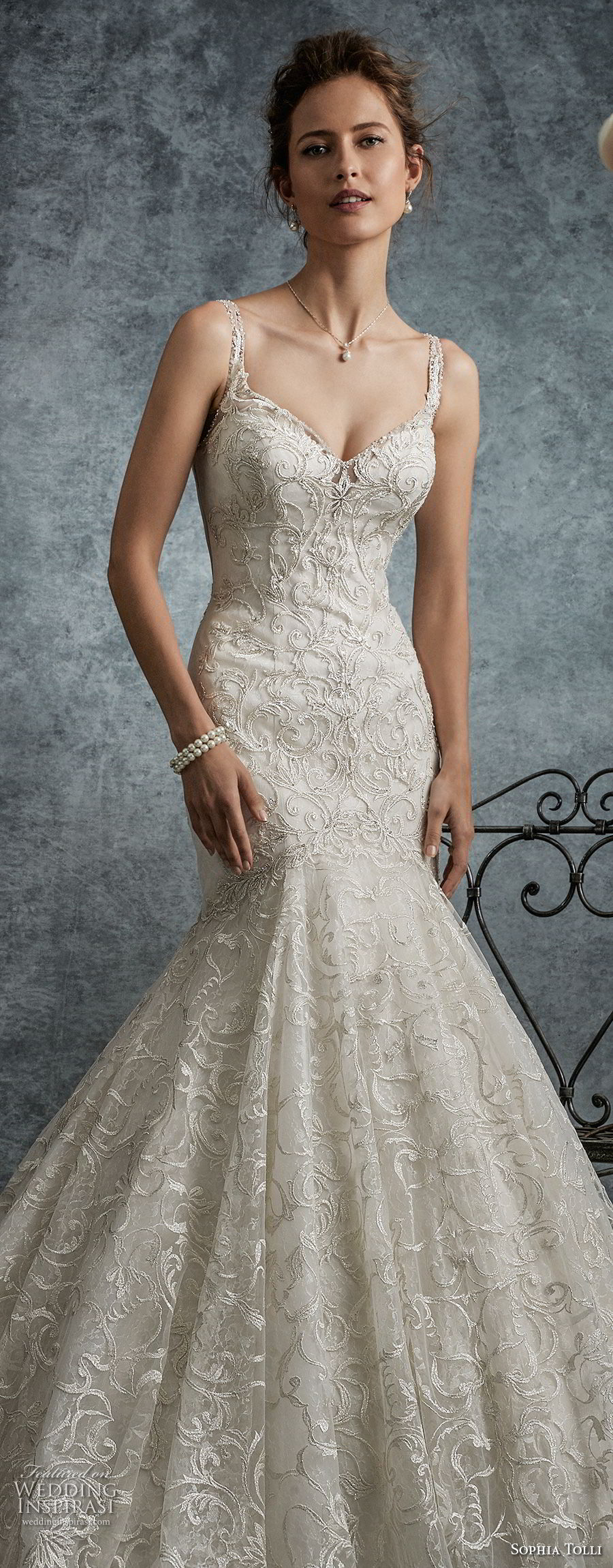 sophia tolli fall 2017 bridal sleeveless strap sweetheart neckline full embellishment elegant trumpet mermaid wedding dress lace back long train (7) zv