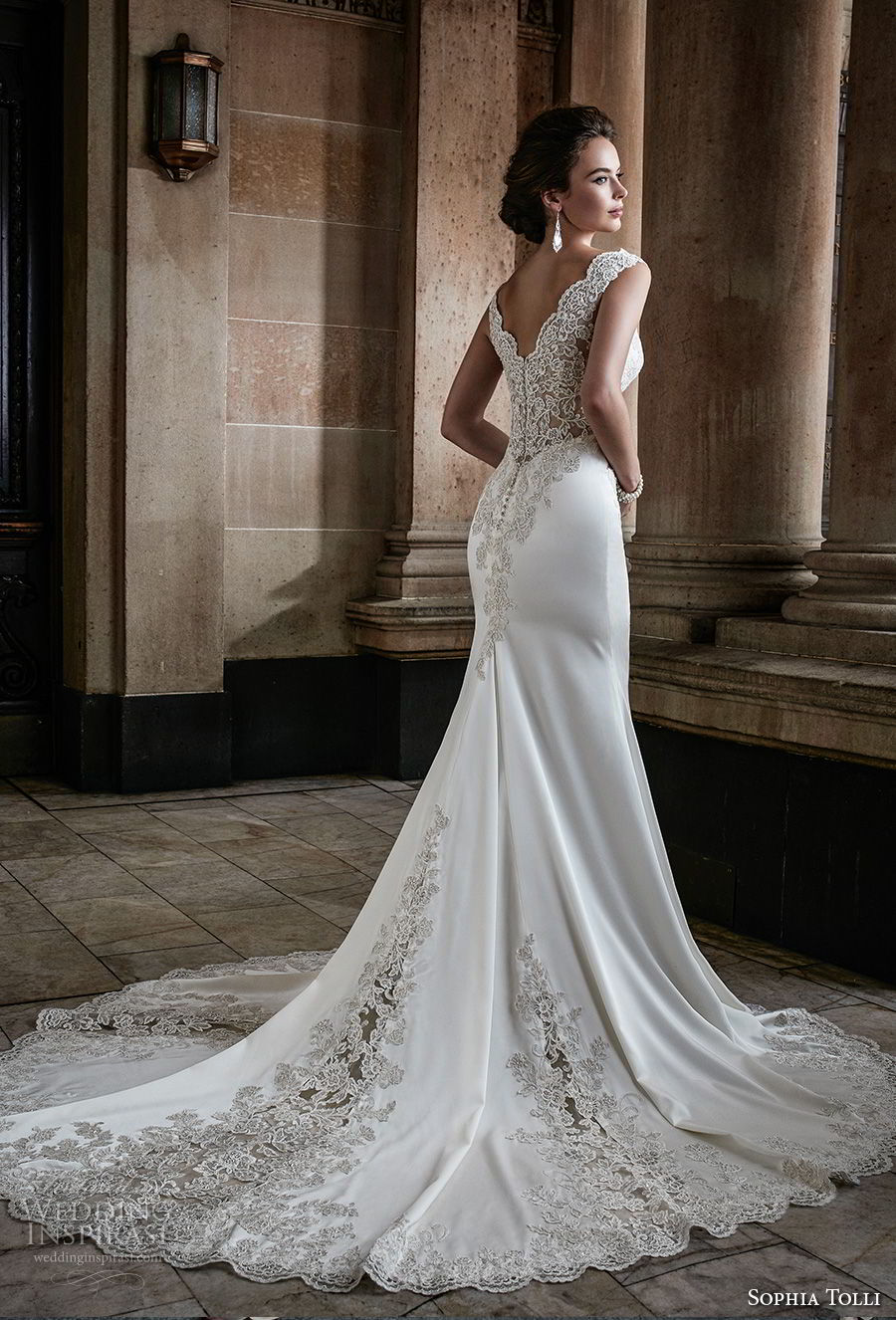 sophia tolli fall 2017 bridal sleeveless thick strap v neck ehavily embellished bodice elegant sheath wedding dress chapel train (29) bv