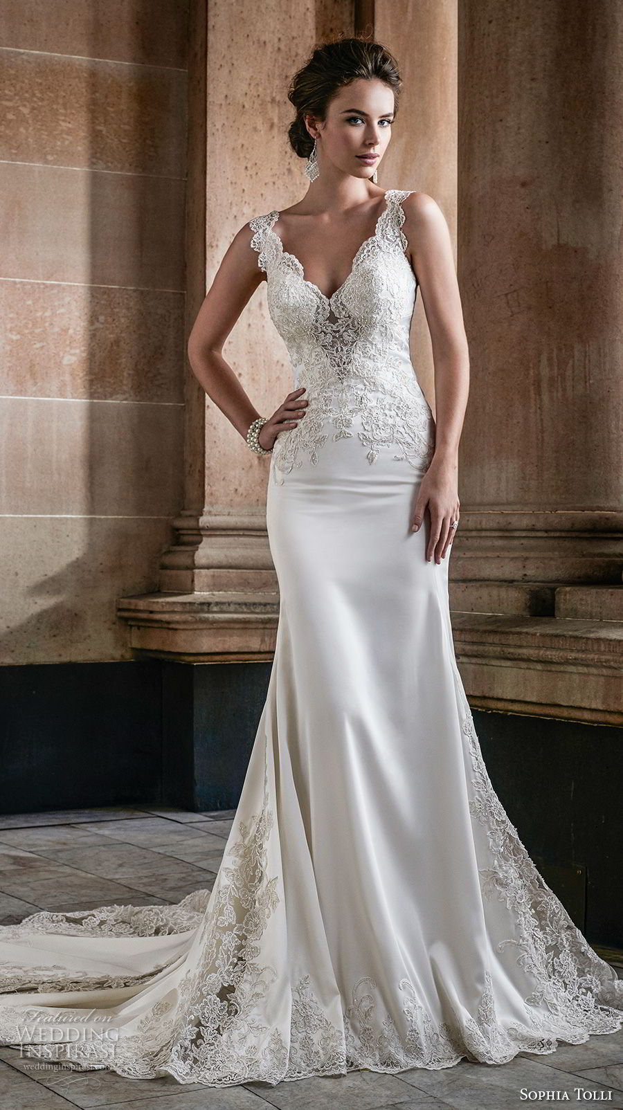sophia tolli fall 2017 bridal sleeveless thick strap v neck ehavily embellished bodice elegant sheath wedding dress chapel train (29) mv