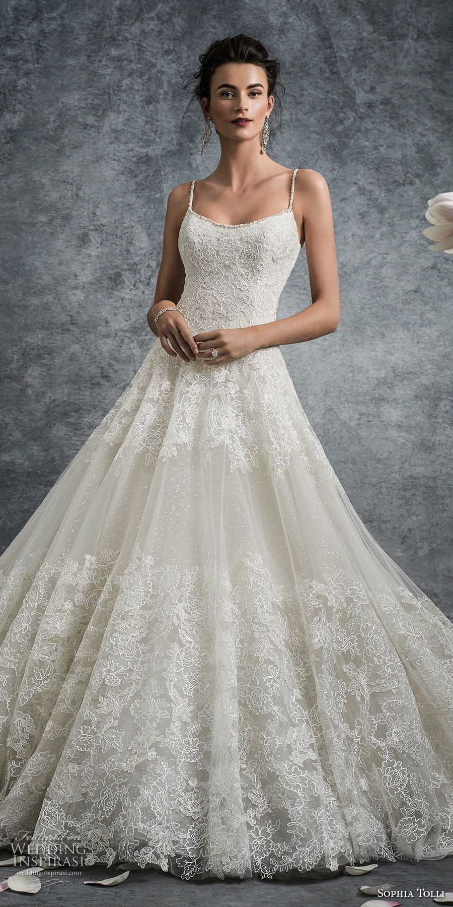 sophia tolli fall 2017 bridal spaghetti strap scoop neckline full embellishment elegant romantic a line wedding dress open scoop back chapel train (15) mv