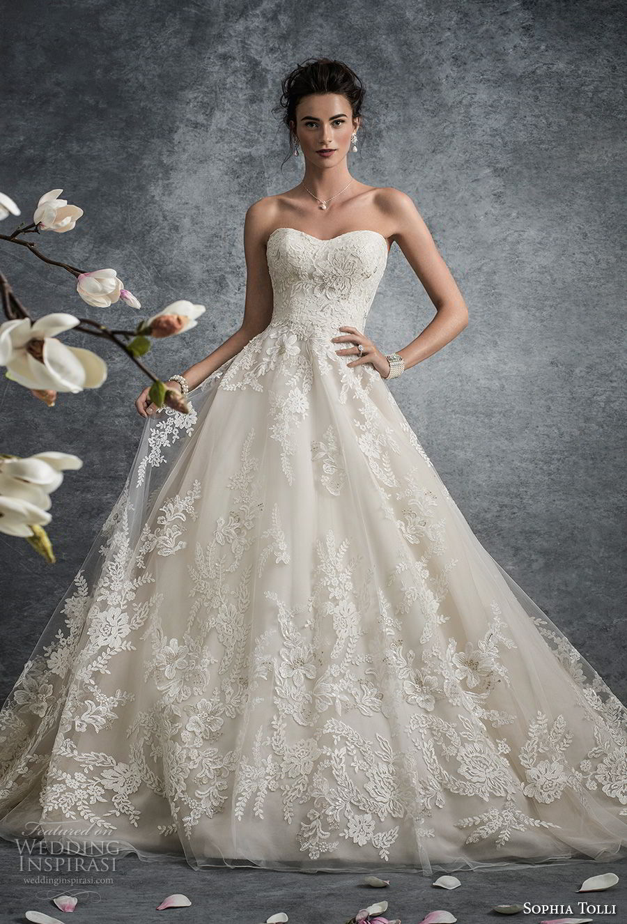 sophia tolli fall 2017 bridal strapless semi sweetheart neckline full embellishment princess ivory color a line wedding dress chapel train (13) mv