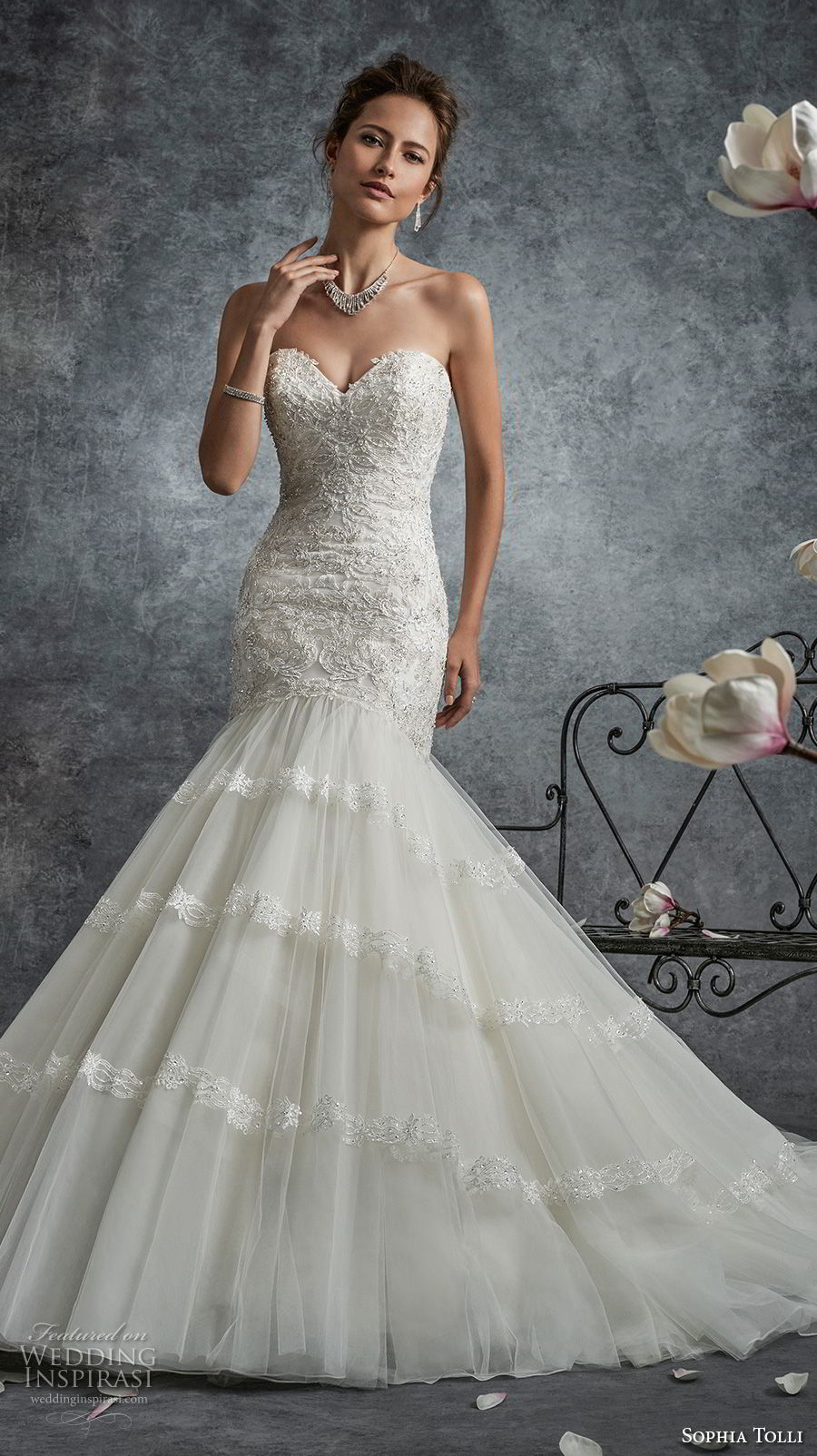 sophia tolli fall 2017 bridal strapless sweetheart neckline heavily embellished bodice elegant trumpet mermaid wedding dress chapel train (24) mv