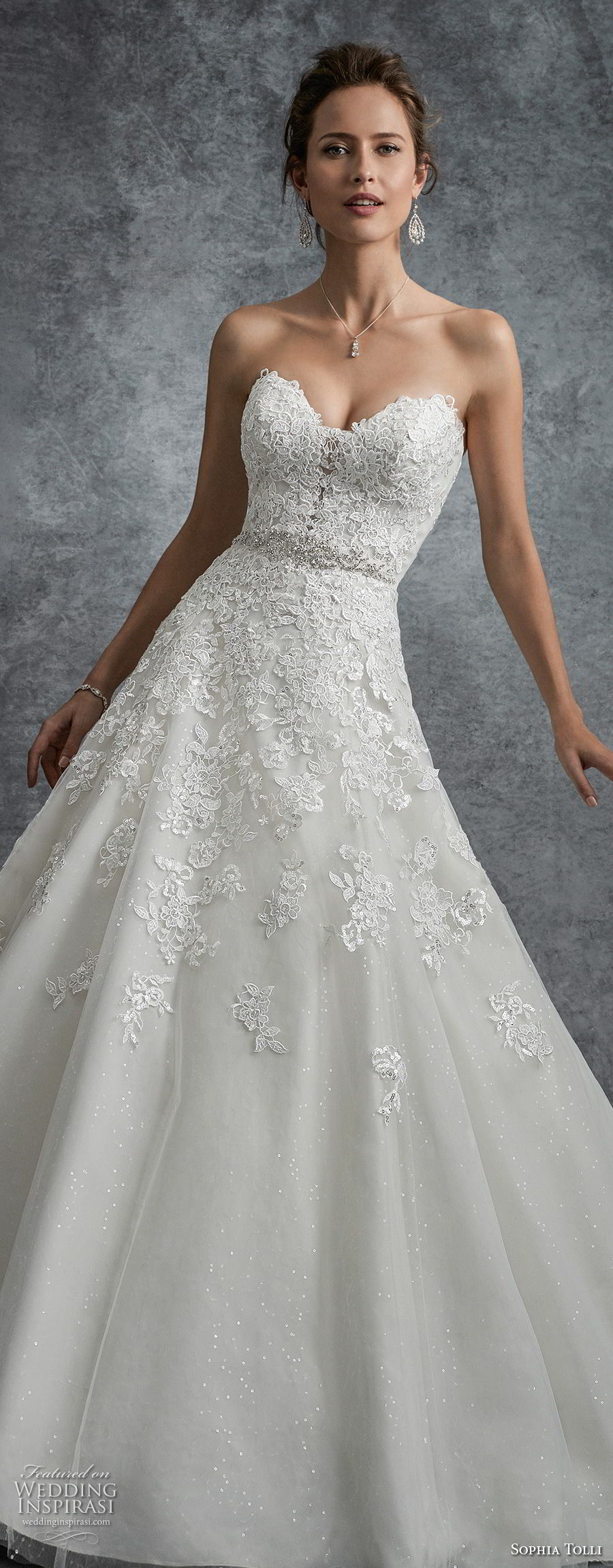 sophia tolli fall 2017 bridal strapless sweetheart neckline heavily embellished bodice romantic a line wedding dress keyhole back chapel train (9) lv