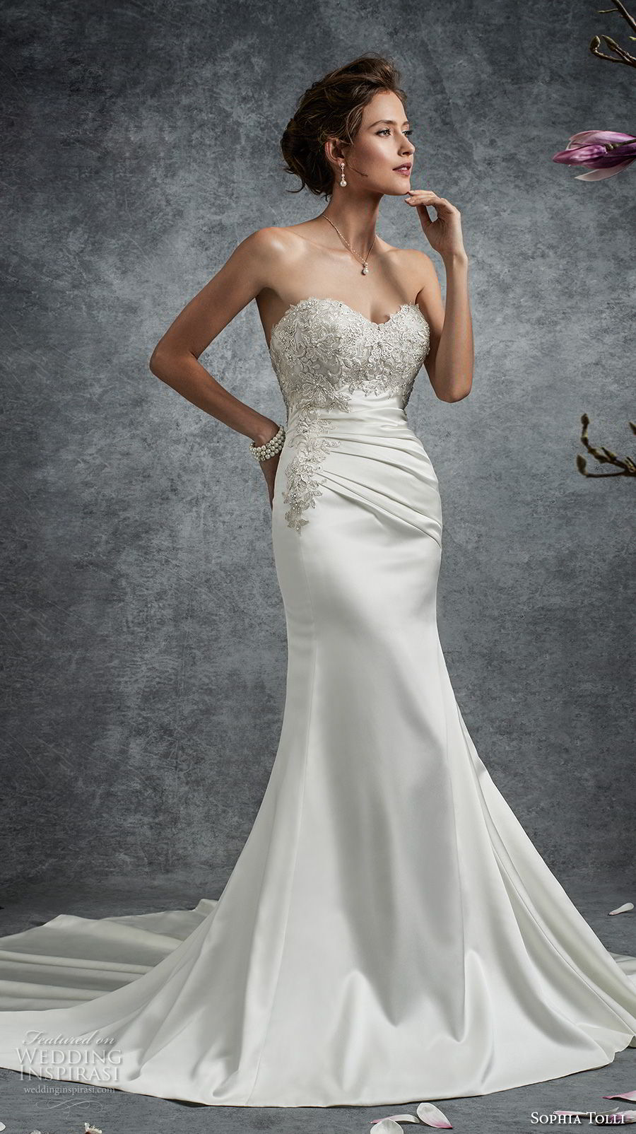sophia tolli fall 2017 bridal strapless sweetheart neckline heavily embellished bodice satin skirt elegant trumpet wedding dress chapel train (28) mv