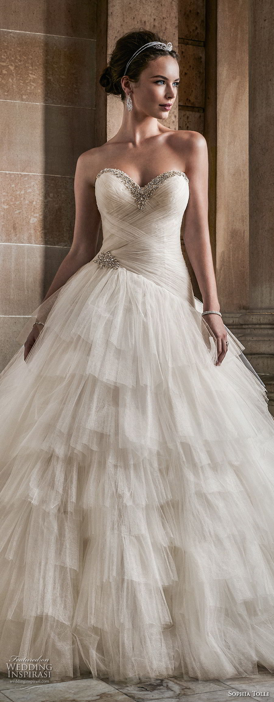 sophia tolli fall 2017 bridal strapless sweetheart neckline light embellished ruched bodice layered skirt princess ball gown wedding dress royal train (2) lv