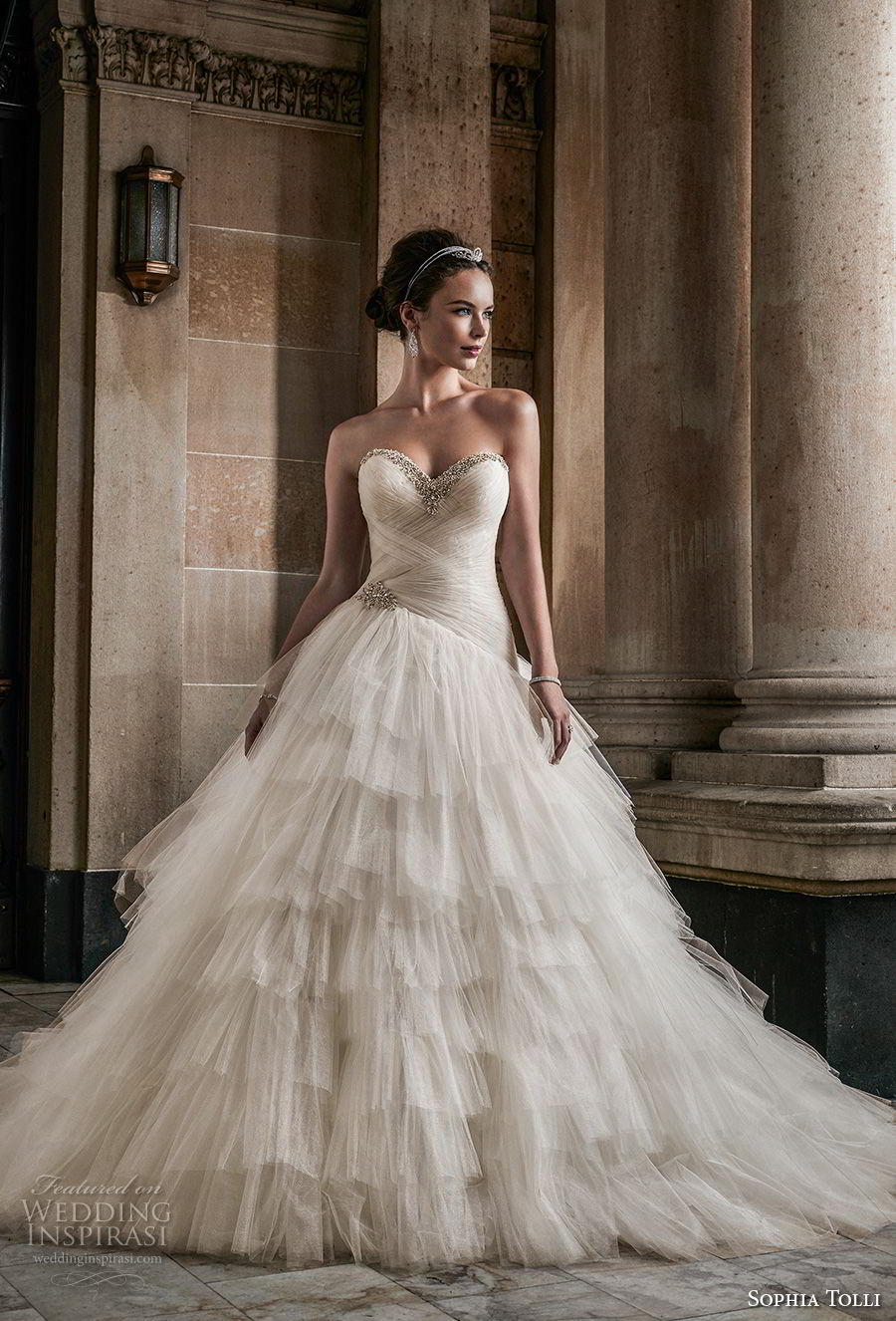 sophia tolli fall 2017 bridal strapless sweetheart neckline light embellished ruched bodice layered skirt princess ball gown wedding dress royal train (2) mv