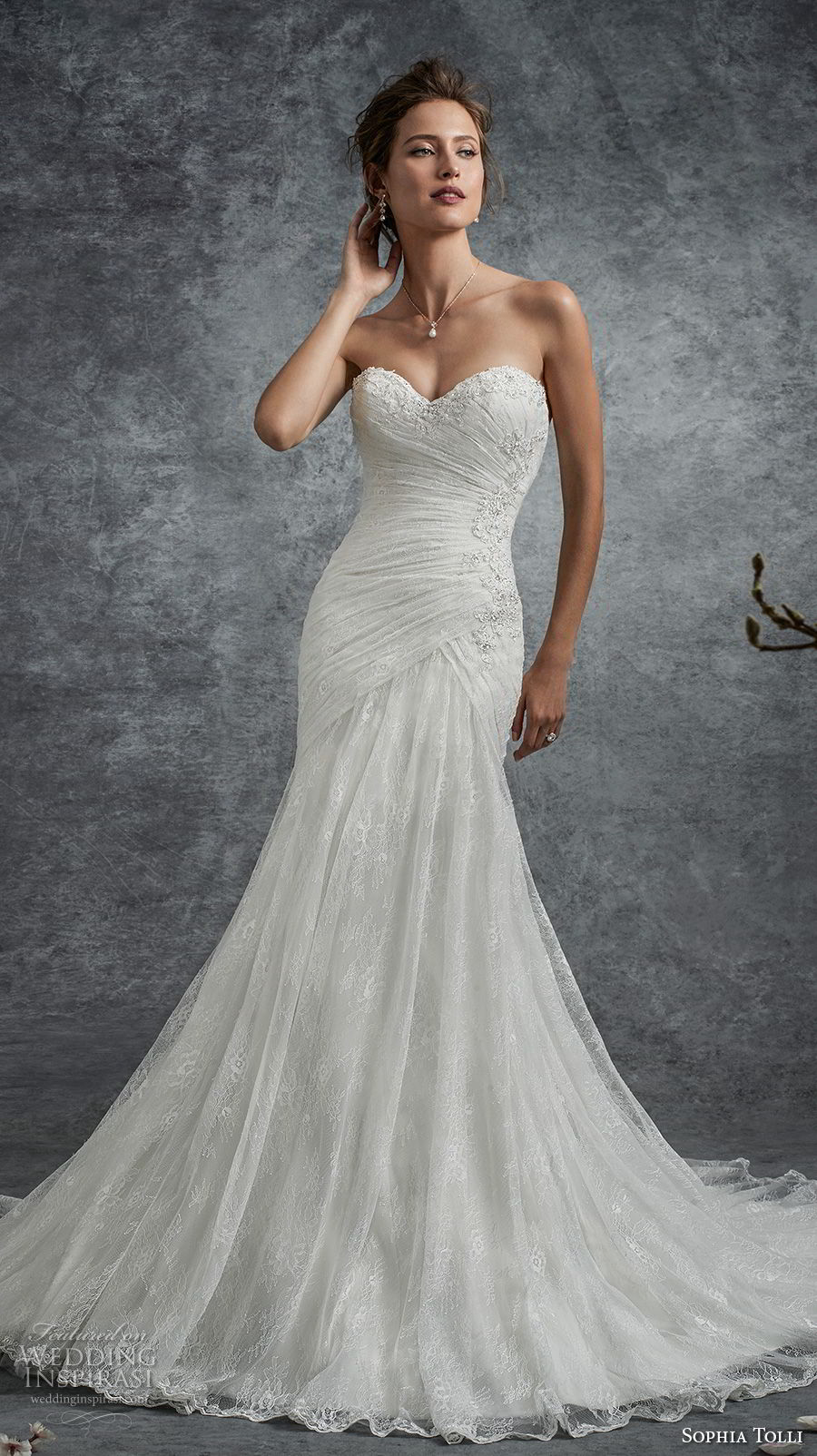 sophia tolli fall 2017 bridal strapless sweetheart neckline ruched bodice elegant trumpet wedding dress chapel train (26) mv