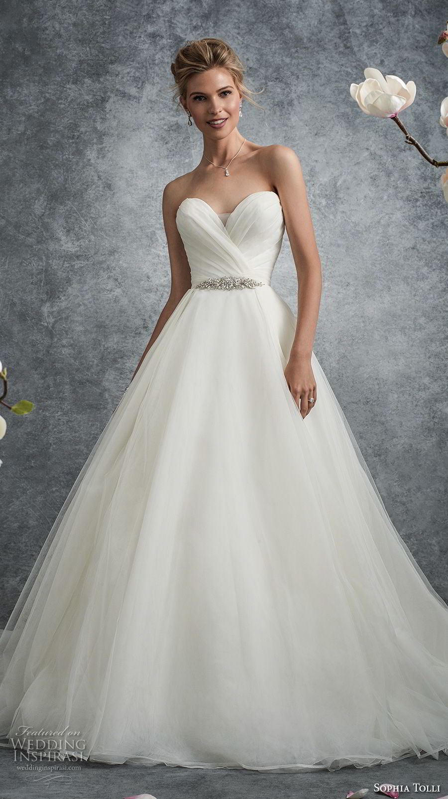 sophia tolli fall 2017 bridal strapless sweetheart neckline wrap over bodice romantic elegant a line wedding dress chapel train (12) mv
