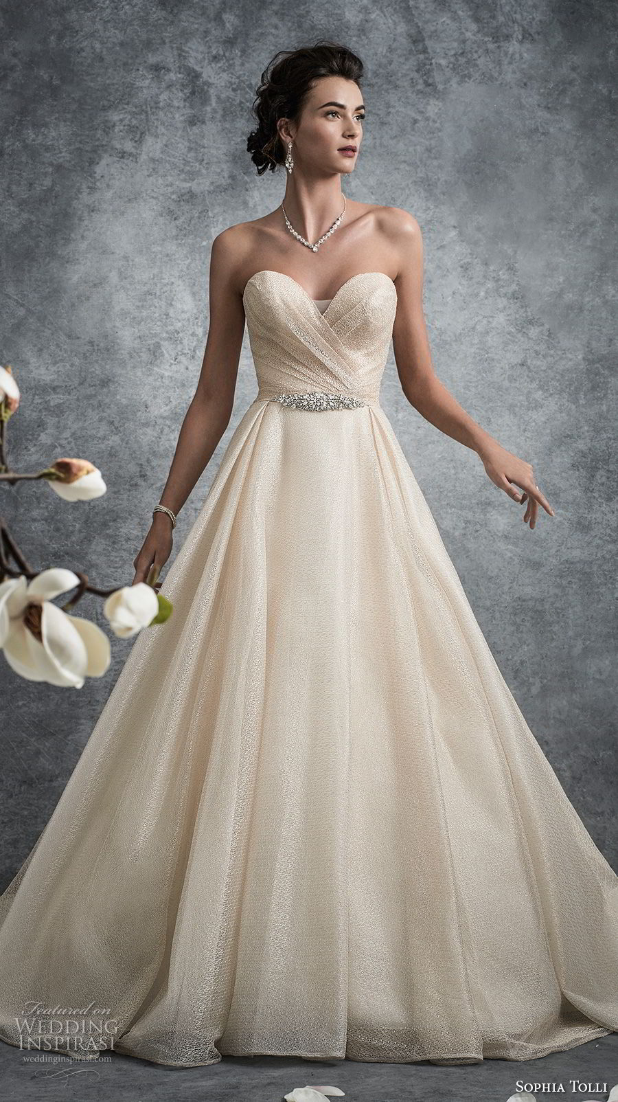 sophia tolli fall 2017 bridal strapless sweetheart neckline wrap over bodice romantic elegant champagne color a line wedding dress chapel train (12) mv