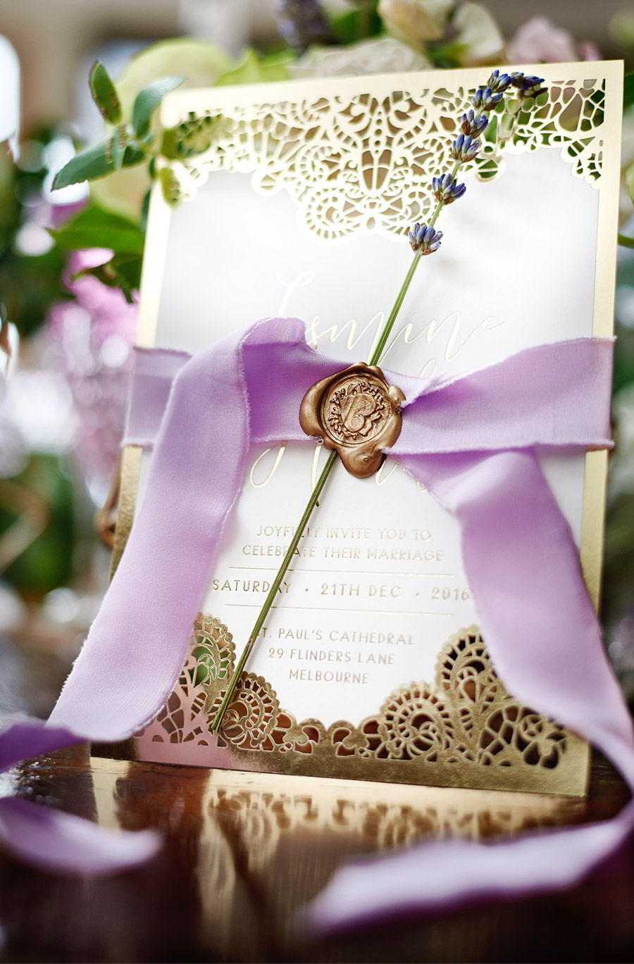 adorn invitation romantic bohemian luxury purrple gold lace wedding invitation card ribbon wax seal