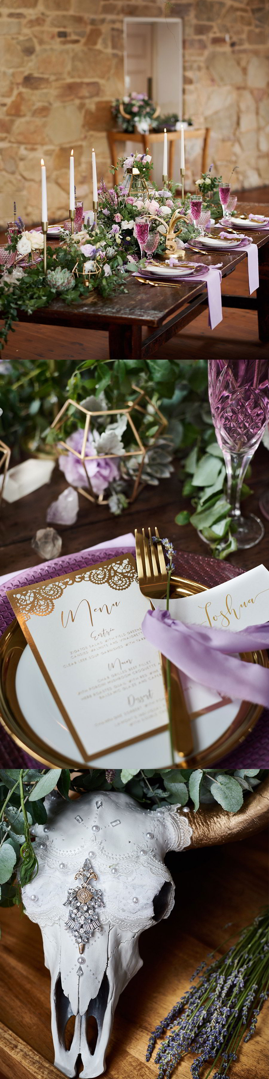 adorn invitation romantic bohemian luxury purrple gold wedding inspiration photo shoot sault daylesford