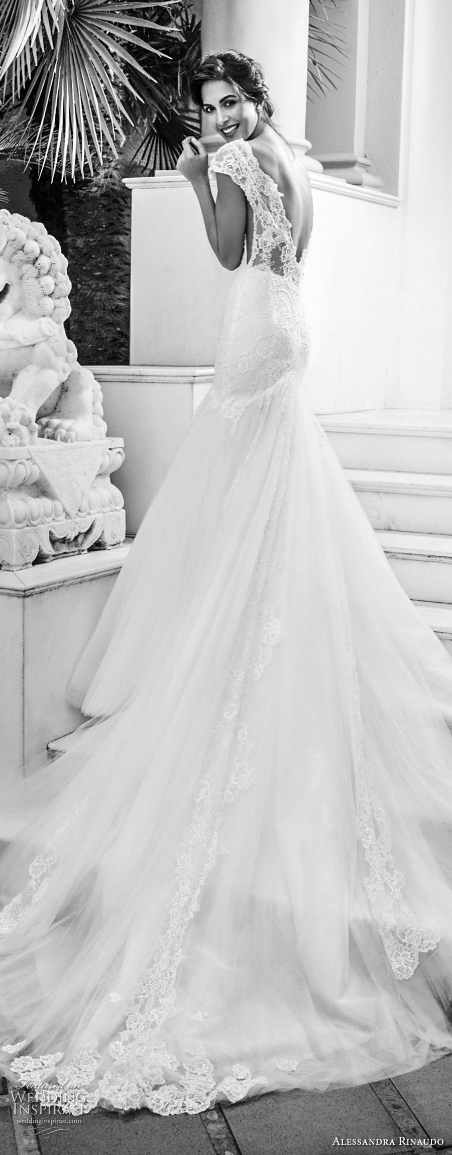alessandra rinaudo 2018 bridal cap sleeves deep plunging sweetheart neckline heavily embellished bodice elegant mermaid wedding dress open v back chapel train (09) bv