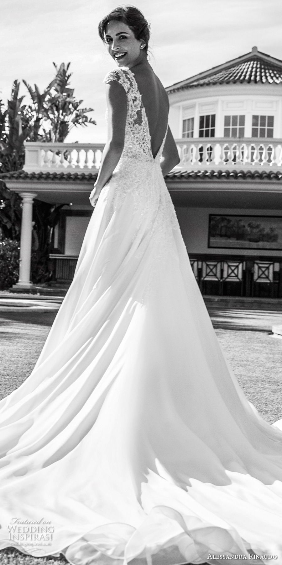 alessandra rinaudo 2018 bridal cap sleeves deep plunging v neck heavily embellished bodice romantic a line wedding dress open v back chapel train (24) bv