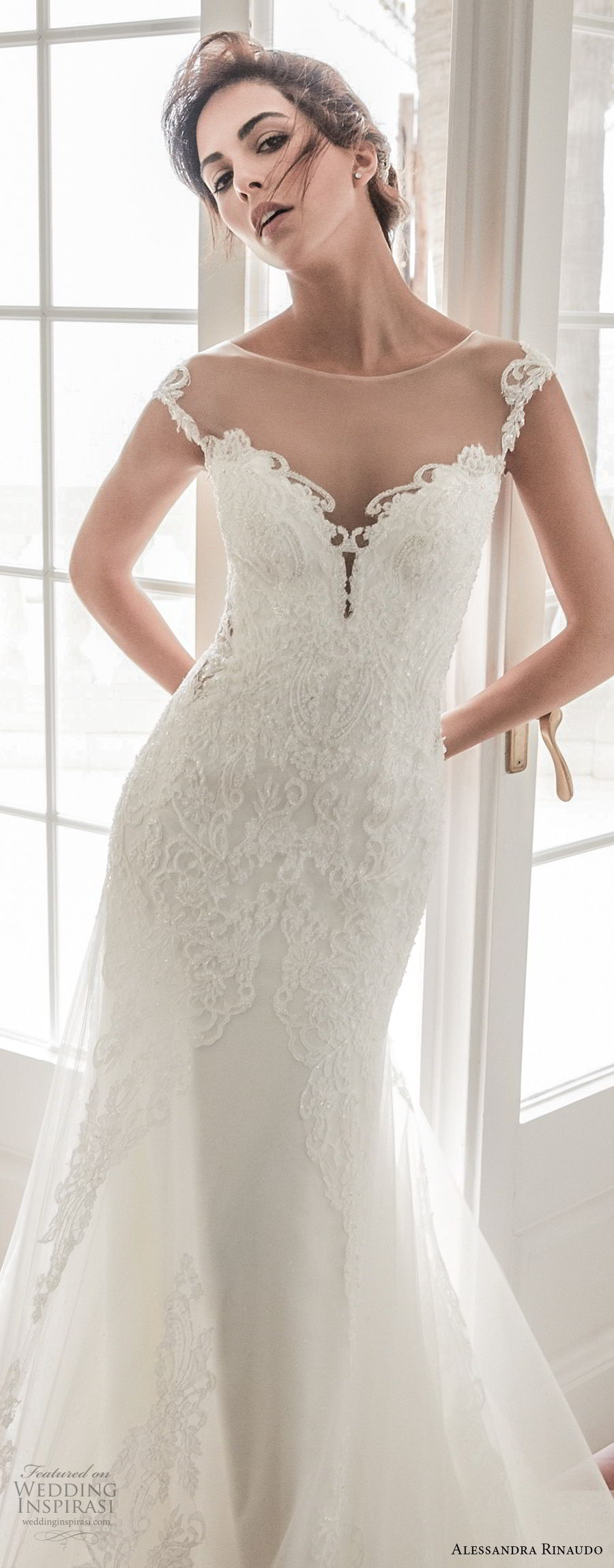 alessandra rinaudo 2018 bridal cap sleeves illusion bateau sweetheart neckline heavily embellished bodice elegant fit and flare mermaid wedding dress sheer lace back chapel train (31) zv