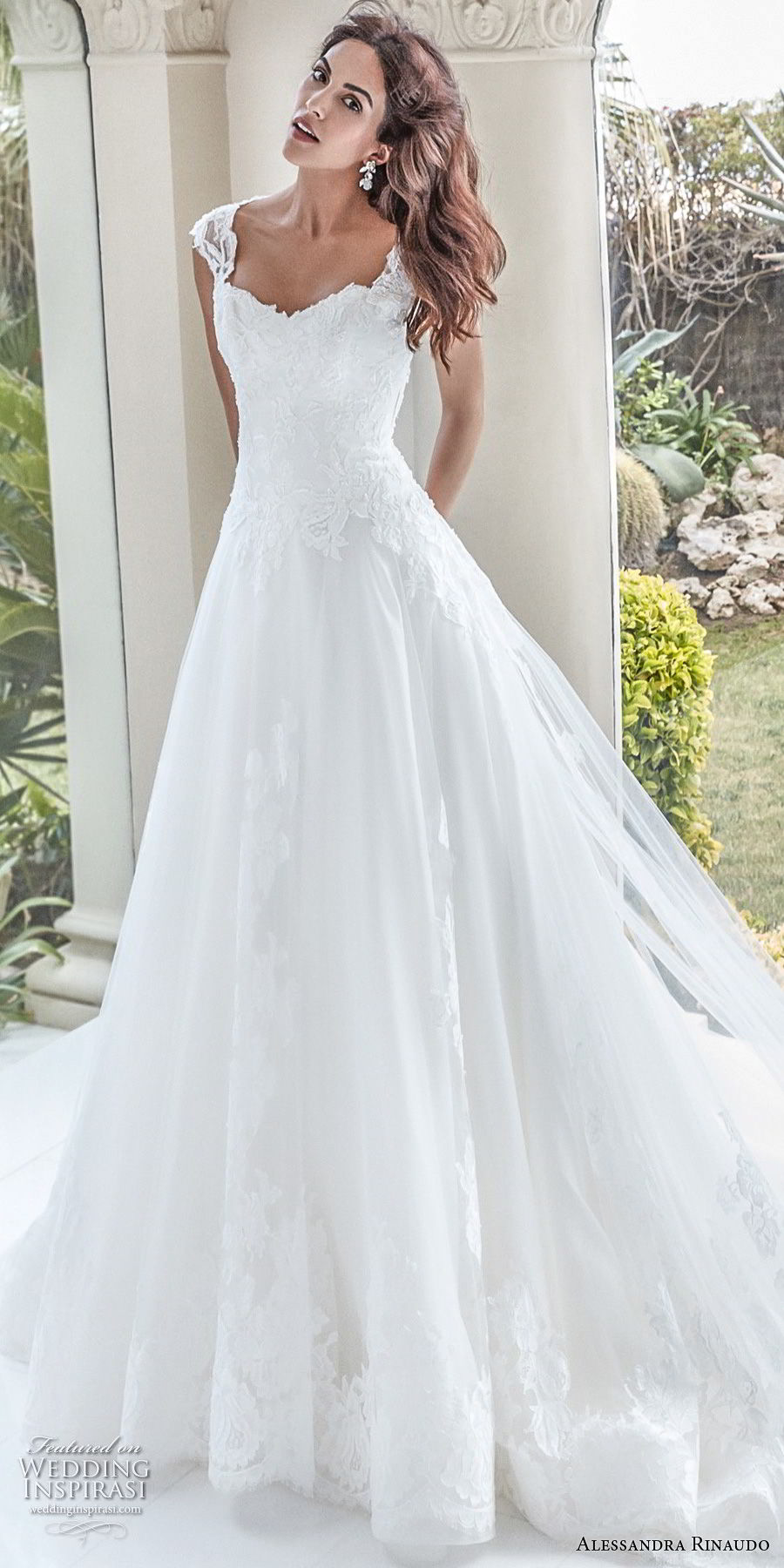 alessandra rinaudo 2018 bridal cap sleeves sweetheart neckline heavily embellished bodice elegant a line wedding dress covered lace back chapel train (33) mv